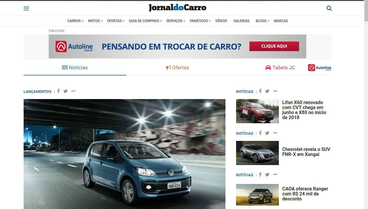 Novo site do Jornal do Carro