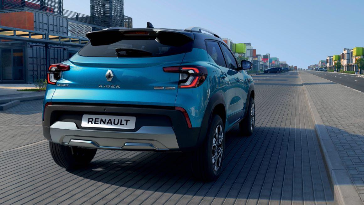 """Traseira do Renault Kiger tem lanternas em formato de """"C"""" simetricamente opostas"""